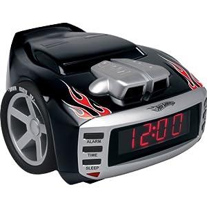 emerson radio hot wheels hw800 snore slammer alarm clock radio red black children 39 s alarm clock. Black Bedroom Furniture Sets. Home Design Ideas