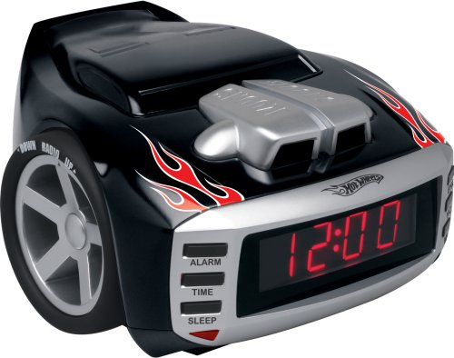 Emerson Radio Hot Wheels HW800 Snore Slammer Alarm Clock Radio (Red/Black)
