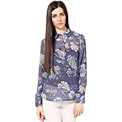 Shibori Women's Printed Shirt (SH1468CO_Blue_X-Large)