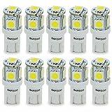 Safego T10 LED バルブウエッジタイプ 電球高品質 車内ランプ W5W 194 168 2825 5連 5050 チップ SMD 置換ナンバー灯、クリアランスランプ、高輝度 T10-5SMD-5050W-10個