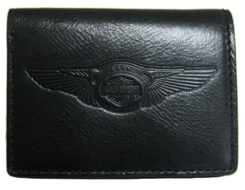 Harley-Davidson Mens 110th Anniversary Classic Trifold Wallet Black Leather