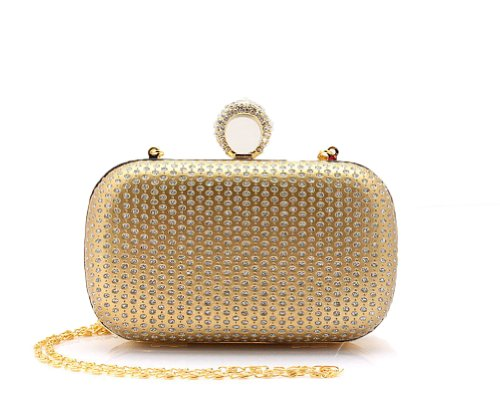 Stylish Beautiful Elegant Women Full Sequins Rhinestone Beaded Net Grid Pattern One Ring Clasp Hard Case Handbag Evening Bag Clutch Purse Hard shell clutch for Lady with Shining Metal Strap