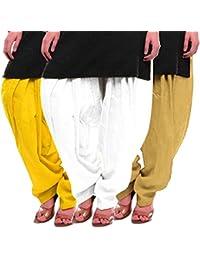 Women's Yellow-White-Beige Cotton Patiala Salwar