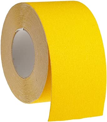"Brady 60' Length, 4"" Width, B-916 Grit-Coated Polyester Tape, Safety Yellow Color Anti-Skid Tape Roll Mounted"