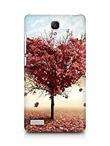 Amez designer printed 3d premium high quality back case cover for Xiaomi Redmi Note (Nature Red Love Fall Tree)