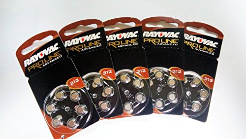 Rayovac 312 Extra piles pour aide auditive Taille 5-Lot de 6