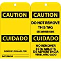 """NMC RPT97G """"CAUTION"""" Bilingual Accident Prevention Tag with Brass Grommet, Unrippable Vinyl, 3"""" Length, 6"""" Height, Black on Yellow (Pack of 25)"""