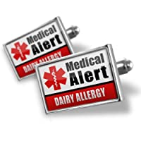 "Neonblond Cufflinks Medical Alert Red ""Dairy Allergy"" - cuff links for man by NEONBLOND Jewelry & Accessories"