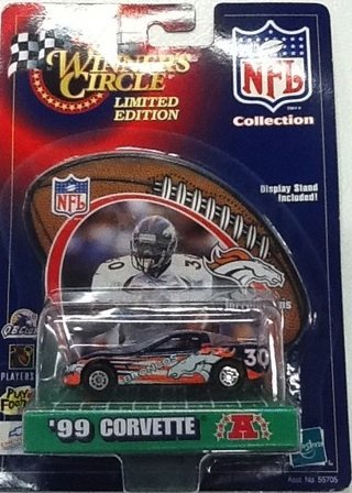 Denver Broncos Terrell Davis 1999 Winner's Circle Diecast NFL Corvette with Terrell Davis Display Stand