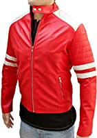 Leather Icon Men's Fight Club Red and White Genuine Leather Jacket