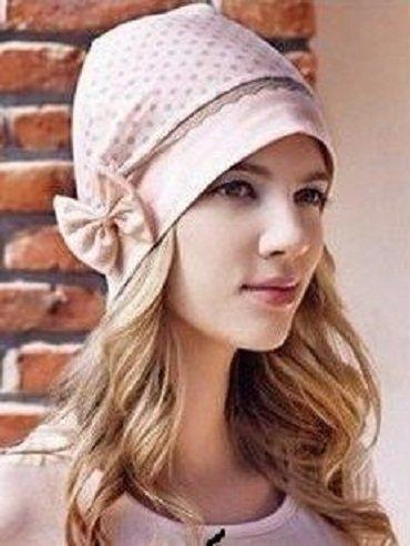 オシャレ! ピンク ドット柄 リボン付 帽子 医療用帽子 ヘア ケア 季節問わずユーティリティーに