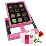 Blooming Creation Of Pralines Chocolates For Love One With Love Card And Rose - Chocholik Belgium Chocolates