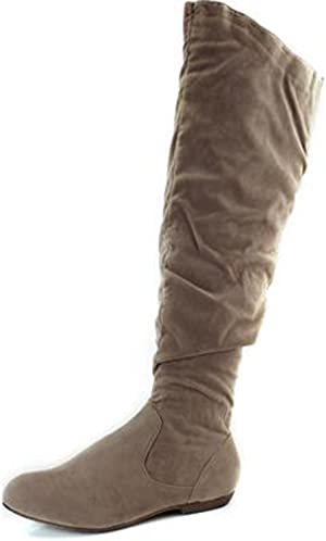 DbDk Shoes Womens Quintus Nude Faux Suede Knee High Boots 10 M US