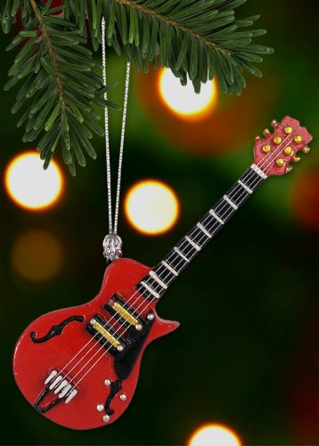 Electric Guitar Hanging Christmas Tree Ornament Semi-Acoustic Red 3-3/4 Inch