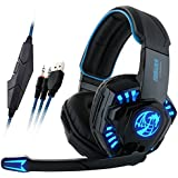 New Version NOSWER I8 3.5mm Wired Stereo Gaming Headset LED Lighting Over Ear Headband Headphone With Microphone...