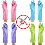 Star Quality Cut Resistant Kitchen Gloves 4 Pairs Set | Durable Latex Gloves Odor Free | Reusable Kitchen Gloves in 4 Colors | Great Value Pack of 2 Pairs M and 2 Pairs L knife-resistant Gloves
