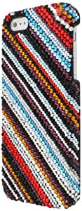 MPERO Collection Multi Colored Stripes Full Diamond Diamante Bling Case for Apple iPhone 5