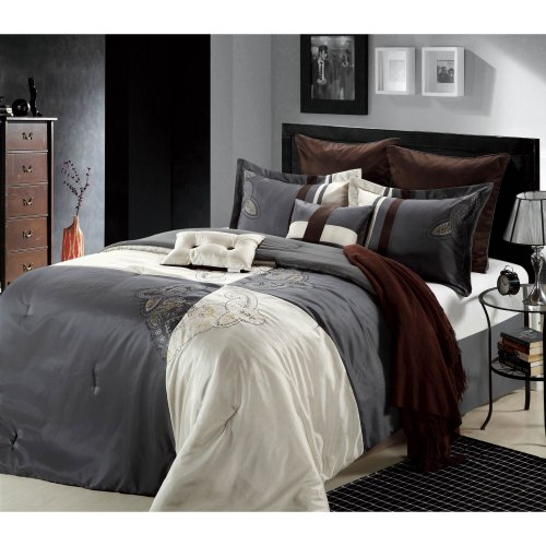 Chic Home Hipster 12-Piece Bed-In-A-Bag Embroidered Comforter Set, Beige Queen front-1013696