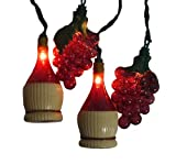 Set of 10 Tuscan Winery Grape and Wine Bottle Patio Christmas Lights - White Wire