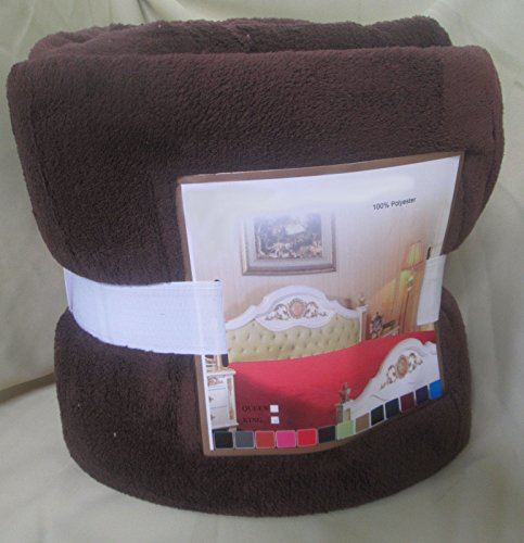 Fancy Collection Luxury Micro-Fleece Ultra Plush Solid Blanket (Queen, Brown) front-775369
