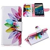 Nexus 5X Case,JanCalm [Kickstand] NEW Pattern Premium PU Leather Wallet [Card/Cash Slots] Protective Flip Case Cover for LG Google Nexus 5X (5.2-Inch) *Including-ONE Crystal Pen (Rainbow Flower)