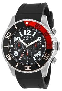 Invicta Pro Diver Men's Quartz Watch with Black Dial Chronograph Display and Black PU Strap 15145