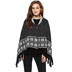Cayman Black Reversible Solid Woollen Poncho
