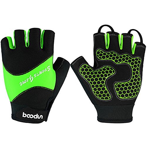 Ezyoutdoor Unisex Breathable Half Finger Glove Shock-Absorbing Super Pads Silica Gel Mountain Bicycle Bike Road Racing Gloves (Green, Medium)