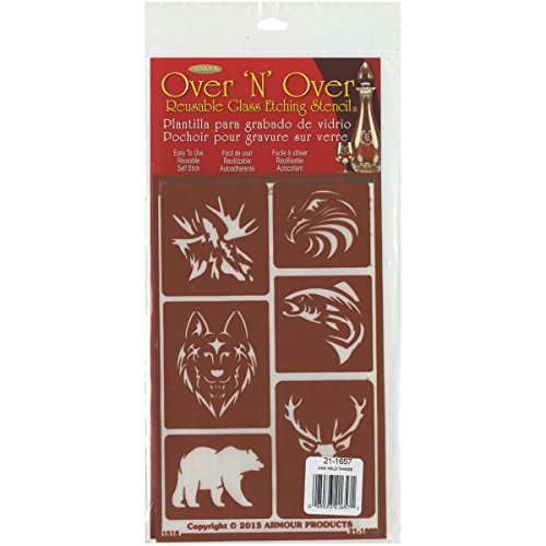 Armour Products Over N Over Glass Etching Stencil, 5-Inch by 8-Inch, Wild Things (Glass Painting Stencils compare prices)