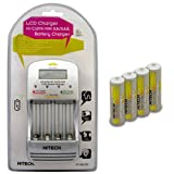 Hitech - Super Fast Charger and 4 AA and 4 AAA Rechargeable Batteries for Kids' Electronics and Learning Systems