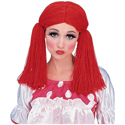 GSG Rag Doll Wig Costume Accessory Adult Womens Raggedy Ann Red Yarn Halloween (Gothic Rag Doll Costume Plus Size)