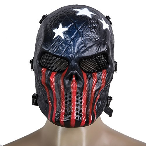 New Arrival Airsoft Paintball Tactical Full Face Protection Skull Mask Army Games Outdoor Metal Mesh Eye Shield Costume for Cosplay Party (Captain)