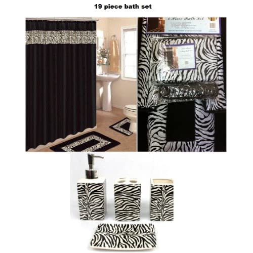 Animal print bath rug set black zebra shower curtain amp accessories