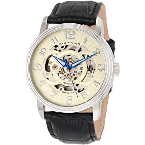 $60 Stührling Original Men's 107EM.331531 Classic Delphi Omega Stainless Steel Automatic Skeleton Watch