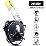 ORSEN Snorkel Mask Full Face 180°View Diving Mask With Action Camera Mount, Anti-fog Anti-leak Technology, Ear Pressure Equalization And ONE SIZE FOR ALL ADULTS AND KIDS (BLACK)