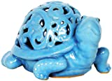 Oh My Garden 7180266T Ceramic Turtle Candle Holder, Blue