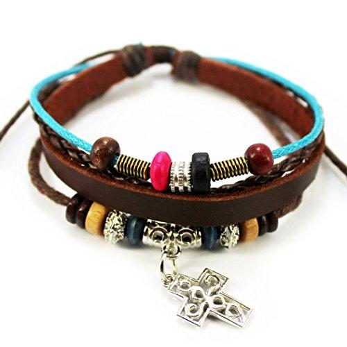 November's Chopin (TM) Art Cross Pendant Colorful Wood Beads Adjustable Charm Wrap Bracelet