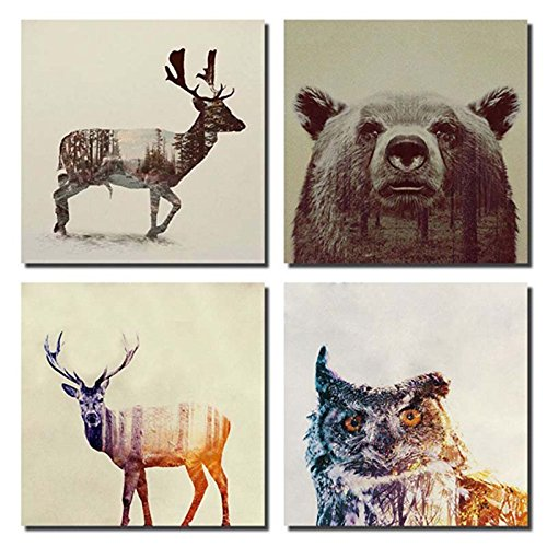 Gardenia - Animal Double-exposure Photography Canvas Wall Art Prints 12 x 12 Inch Stretched and Framed Modern Decor Paintings Giclee Artwork for Living Room and Bedroom Decoration Beer Sika Deer & Owl (Framed Bear Art compare prices)