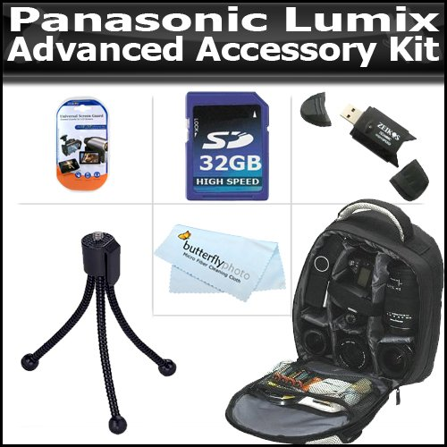 Advanced Accessory Kit For Panasonic Lumix DMC-GH2 DMC-G10, DMC-G1, DMC-G2, DMC-GF2, DMC-G3, DMC-GF3 Digital Camera Includes 32GB High Speed SD Memory Card + USB 2.0 High Speed Reader + Deluxe Backpack Case + Mini Tripod + LCD Screen Protectors + More