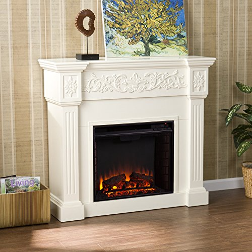 Wood Carved Ivory Electric Fireplace