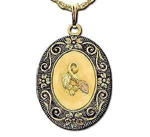 Stamper Black Hills Gold Locket. Antiqued. 10K Solid Gold Leaves Adornment. Gold Filled Chain. L1149