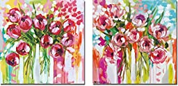 Razzle Dazzle Tulips & Sunburst Symphony by Amanda Brooks 2-pc Premium Stretched Canvas Art Set (Ready to Hang)