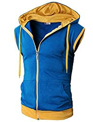 H2h Men's Active Sleeveless Hoodie Zi…