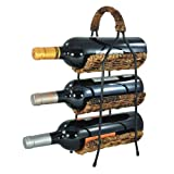 3-Tier Exquisite Black Wine Bottle Display Rack & Caddy w/ Woven Madras Baskets