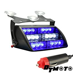 DT MOTO™ Blue White 18x LED Volunteer Personal Vehicle Windshield Dash Warning Strobe Light - 1 unit