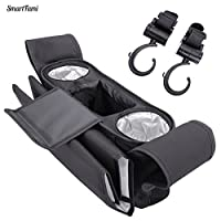 Stroller Organizer from SmartFami With Portable Bigger Changing Pad and Two BONUS Stroller Hooks. Fits for ALMOST All Strollers. by SmartFami