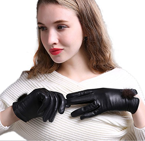 WITERY Women Winter Touch Screen PU Leather Gloves - Thick Warm Fleece Windproof Gloves Cold Proof Thermal Mittens - Ideal for Dress, Driving, Cycling, Motorcycle, Camping etc Black