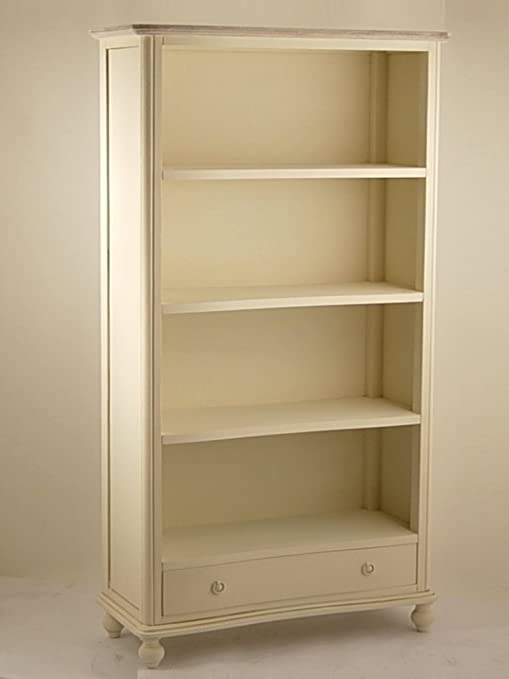 Libreria 4 Ripiani e 2 Cassetti Color Crema e Top Marrone Whitewash 88x35x180cm