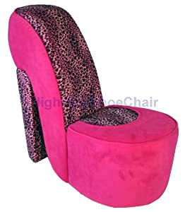 Child size pink and leopard high heel shoe chair childrens furniture