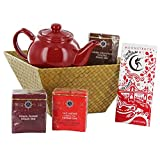 Chocolate Cherry Gift Basket with Teas, Teapot and Chocolate